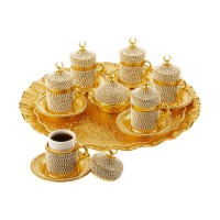 Turkish Coffee Set 6 Persons Coffee Cups and Saucers with Delight Bowl - Golden Color with Swarovski Stones