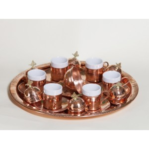 Copper Turkish Coffee Set 6 Persons Coffee Cups and Saucers with Delight Bowl