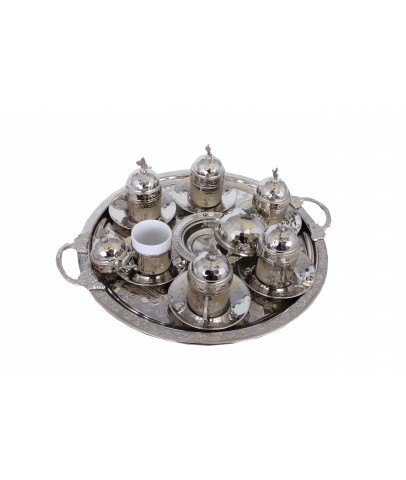 Turkish Coffee Set 6 Persons Coffee Cups and Saucers with Delight Bowl