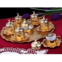 Turkish Coffee Set 6 Persons Coffee Cups and Saucers with Delight Bowl Golden Color