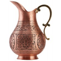 Solid Copper Handmade Matte Engraved Jug Pitcher Carafe 2L Copper Vessel for Drinking Water