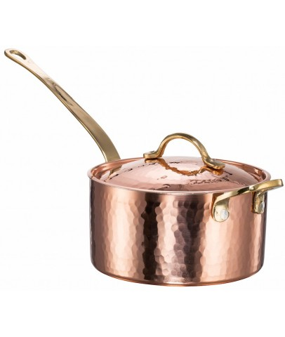 Copper Hammered Saucepan with Lid & Helper Handle