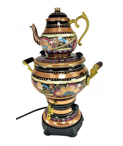 Copper Hand Painted Electric Samovar Tea Kettle 4L with Plug Convertor