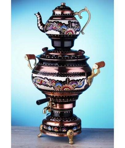 Copper Handpainted Samovar Tea Kettle Electric Water Heater 4L Semaver