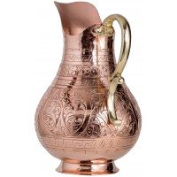 Solid Copper Handmade Engraved Jug Pitcher Carafe 2L Copper Vessel for Drinking Water