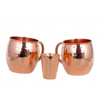 Moscow Mule Solid Smooth Copper Mug 45cL & Shot Glass 10cL