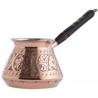 Solid Copper Hammered Copper Turkish Greek Arabic Coffee Pot Stovetop Coffee Maker Cezve Ibrik Briki with Wooden Handle