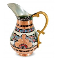 Solid Copper Handmade Handpainted Jug Pitcher Carafe 2L Copper Vessel for Drinking Water