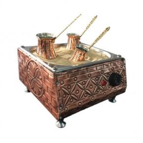 Turkish Copper Sand Coffee Machine with 3 Coffee Pots and 100gr Turkish Coffee